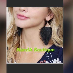 Black Tassel Fringe Earrings
